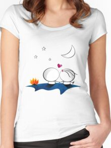 Looking at the moon Women's Fitted Scoop T-Shirt