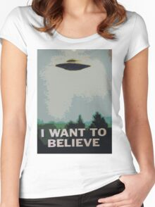 I Want to Believe- X Files Women's Fitted Scoop T-Shirt