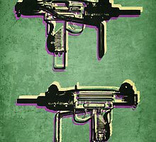 Mini Uzi Sub Machine Gun on Green by ArtPrints