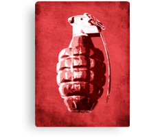 Hand Grenade on Red Canvas Print