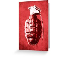Hand Grenade on Red Greeting Card