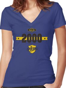 Born in 2000 (Choco&Yellow) Women's Fitted V-Neck T-Shirt