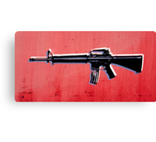 M16 Assault Rifle on Red Canvas Print