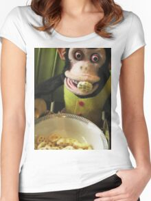 Musical Jolly Chimp Enjoys His Cereal Women's Fitted Scoop T-Shirt