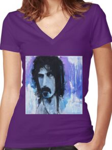 Frank Zappa Portrait Women's Fitted V-Neck T-Shirt