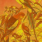 Parrots in the Sunset by Jane Holloway