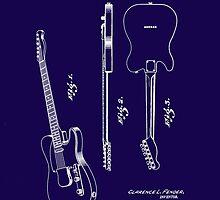 Fender 1951 Electric Guitar Patent Art-b by Barry  Jones