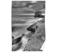 Portland Bill Seascape in Black and White HDR Poster