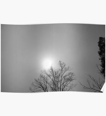 LIght shining through the foggy cloud Poster
