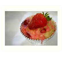 Strawberry Muffin with strawberry cream icing Art Print