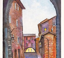 Assisi Street, Umbria, Italy by Dai Wynn