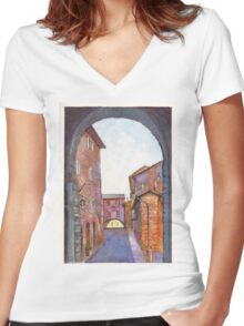 Assisi Street, Umbria, Italy Women's Fitted V-Neck T-Shirt