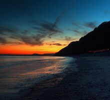 Branscombe beach at dusk by Rob Hawkins