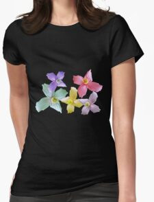 Gorgeous pink, yellow, purple, blue colorful flowers in black background Womens Fitted T-Shirt