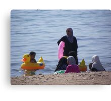 Muslim Women, Jordan Beach in Aqaba Canvas Print