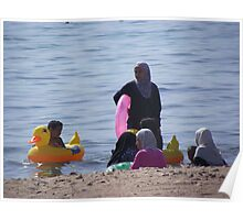 Muslim Women, Jordan Beach in Aqaba Poster