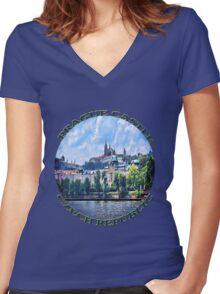 PRAGUE CASTLE TEE SHIRT  - PILLOWS - TOTE BAG- JOURNAL-ECT. Women's Fitted V-Neck T-Shirt