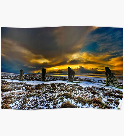 Sunset over Ring of Brodgar Poster