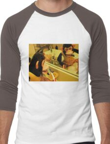 Musical Jolly Chimp Brushes His Teeth Men's Baseball ¾ T-Shirt