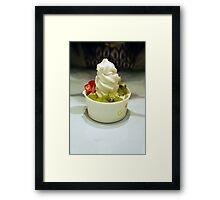 Frozen Yogurt - cute dessert shop Framed Print