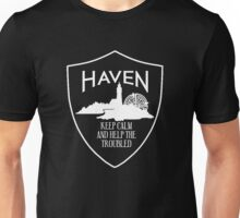 Haven Keep Calm White Logo Badge Unisex T-Shirt