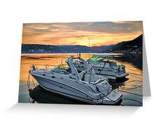 Motor Boats At Sunset In A Croatian Bay Greeting Card