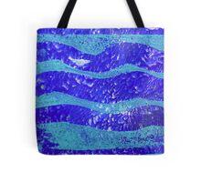 Abstract Waves Blue Monoprint Tote Bag