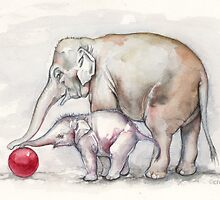 Elephants Playing with a Red Ball by CroceDesigns