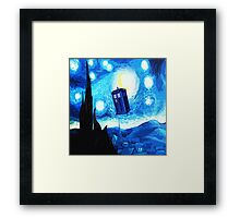 Starry Night Blue Phone Box Framed Print