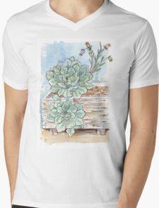 Echeveria imbricata painting 1 Mens V-Neck T-Shirt
