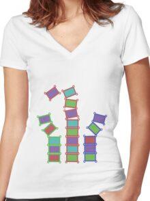 Falling Blocks Women's Fitted V-Neck T-Shirt