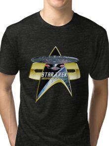 StarTrek Enterprise 1701 D Com badge 3 Tri-blend T-Shirt