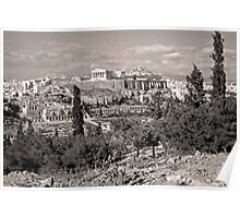 Athenian Acropolis from Philopappou Hill, 1960, Sepia Poster