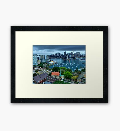 Morning View - Sydney Harbour, From North Sydney - The HDR Experience Framed Print
