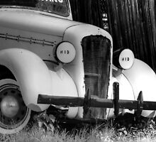 classic car used for advertising B&W-front side view by henuly1