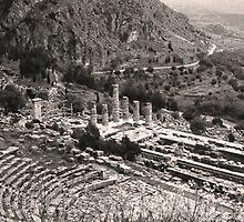 Temple of Apollo and Theatre, Delphi 1960, Sepia by Priscilla Turner