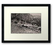 Temple of Apollo and Theatre, Delphi 1960, Sepia Framed Print