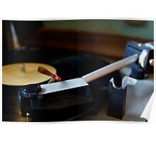 Turntable with record playing. Poster