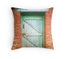 Green Wood Gate, Red Wall Throw Pillow