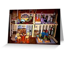 DOLLS IN DOLL HOUSE PICTURE and OR CARD,KIDS TRAVELS MUGS,DOLLS DOLL HOUSE DECORATIVE PILLOW AND OR TOTE BAG Greeting Card
