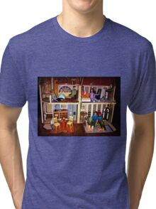 DOLLS IN DOLL HOUSE PICTURE and OR CARD,KIDS TRAVELS MUGS,DOLLS DOLL HOUSE DECORATIVE PILLOW AND OR TOTE BAG Tri-blend T-Shirt
