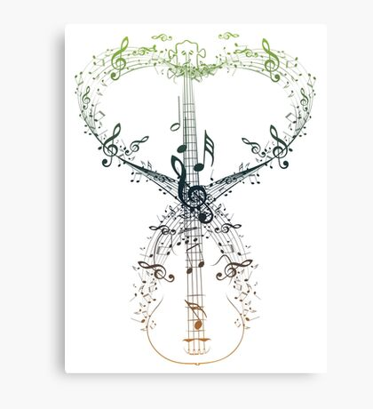 Guitar and Music Notes 9 Canvas Print