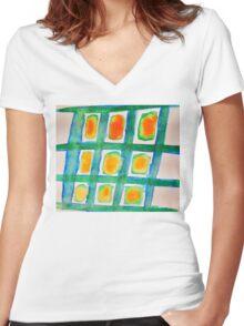 Summer Windowpane Women's Fitted V-Neck T-Shirt