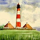 Lighthouse Westerheven   Germany by Marie Luise  Strohmenger