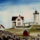 Lighthouse  Maine USA by Marie Luise  Strohmenger