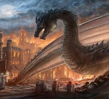 Epic dragon  fight, elven maid, Smaug, Lotr by Liancary