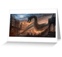 Epic dragon  fight, elven maid, Smaug, Lotr Greeting Card