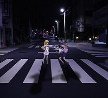 Monogatari – Mayoi and Shinobu crosswalk by gentlemenwalrus