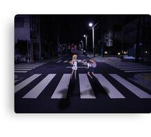 Monogatari – Mayoi and Shinobu crosswalk Canvas Print