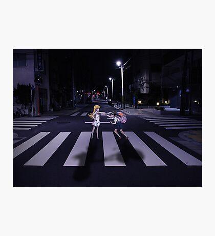 Monogatari – Mayoi and Shinobu crosswalk Photographic Print